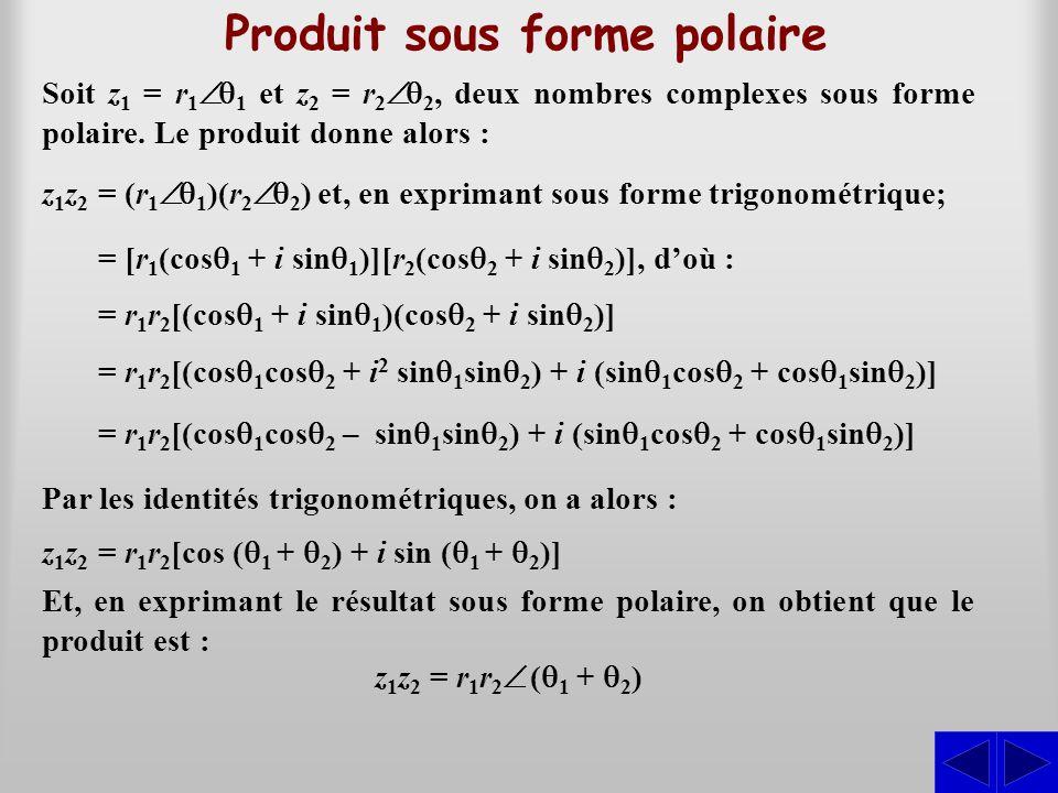 Produit sous forme polaire Soit z1 z1 = r 1  1 et z2 z2 = r 2  2, deux nombres complexes sous forme polaire. Le produit donne alors : z1z2z1z2 = (