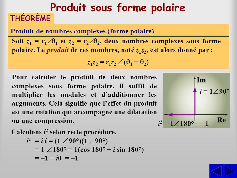 Produit de nombres complexes (forme polaire) THÉORÈME Produit sous forme polaire Soit z1 z1 = r 1  1 et z2 z2 = r 2  2, deux nombres complexes sou