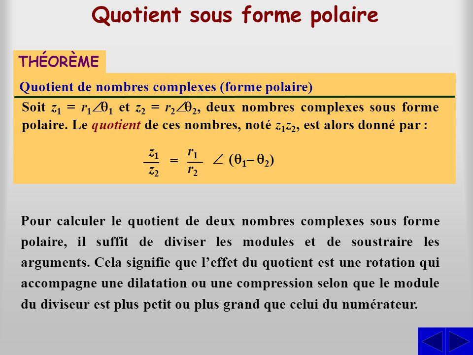 Quotient de nombres complexes (forme polaire) THÉORÈME Quotient sous forme polaire Soit z1 z1 = r 1  1 et z2 z2 = r 2  2, deux nombres complexes s