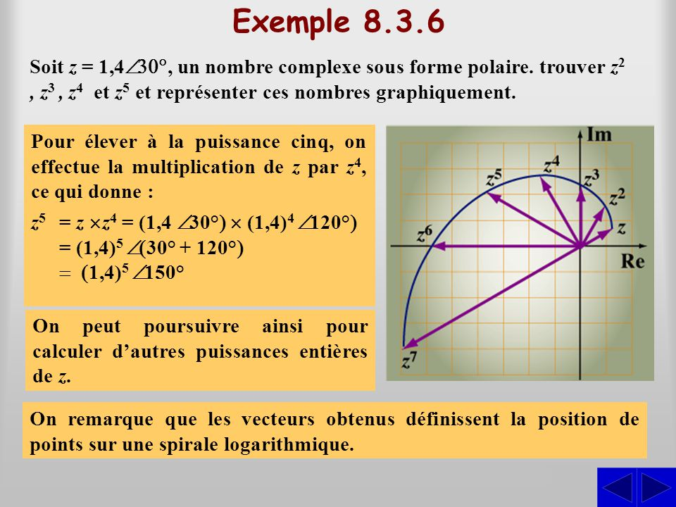 Exemple 8.3.6 Soit z = 1,4 , un nombre complexe sous forme polaire. trouver z2z2, z 3, z 4 et z5 z5 représenter ces nombres graphiquement. Pour él