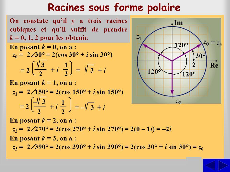 Racines sous forme polaire Soit u, un nombre complexe. Par définition, un nombre complexe z est une racine n ième de u si et seulement si z n = u. On