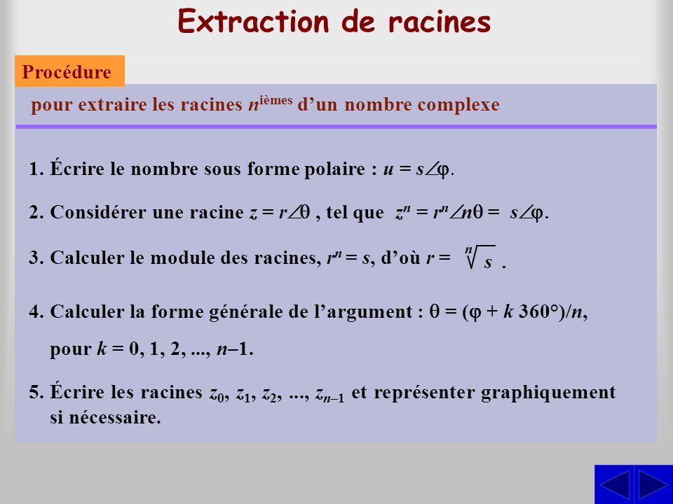 Extraction de racines pour extraire les racines n ièmes d'un nombre complexe 1.Écrire le nombre sous forme polaire : u = s  2.Considérer une racine