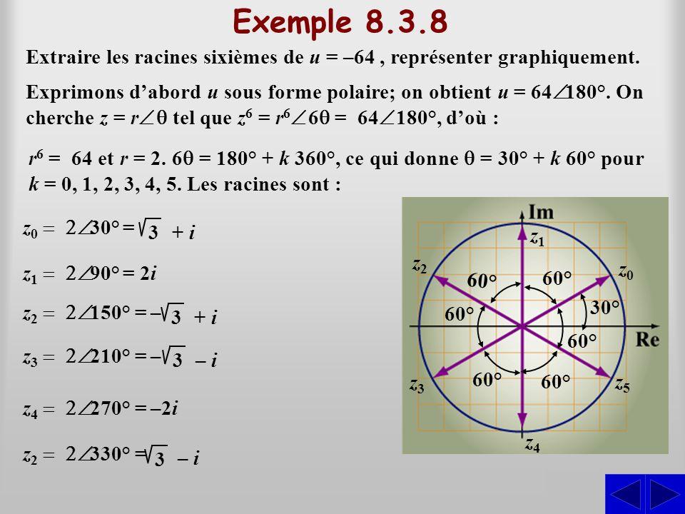 Exemple 8.3.8 Extraire les racines sixièmes de u = –64, représenter graphiquement. r6 r6 =  64 et r = 2. 6 6 = 180° + k 360°, ce qui donne  = 30°