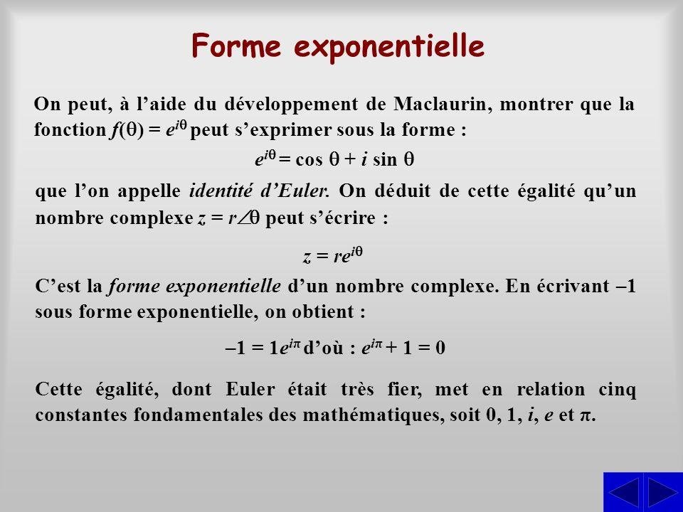 Forme exponentielle On peut, à l'aide du développement de Maclaurin, montrer que la fonction f(  ) = e i  peut s'exprimer sous la forme : e i  =