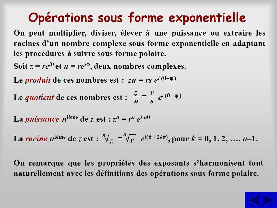 On peut multiplier, diviser, élever à une puissance ou extraire les racines d'un nombre complexe sous forme exponentielle en adaptant les procédures à