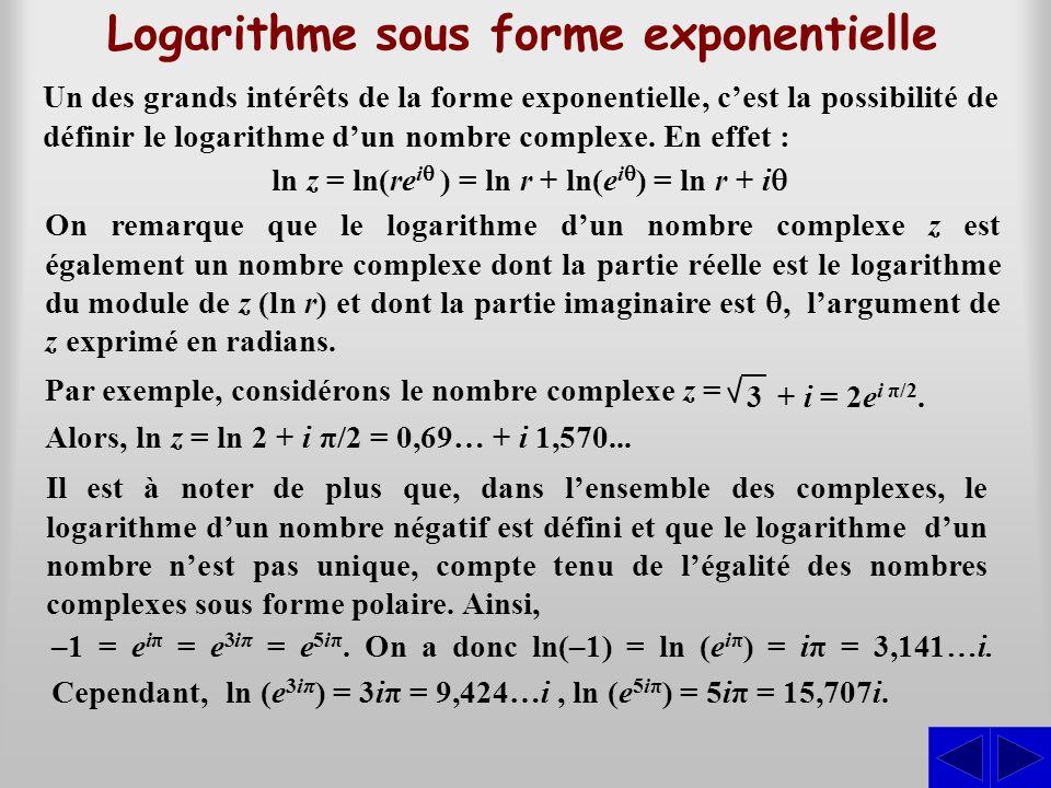Un des grands intérêts de la forme exponentielle, c'est la possibilité de définir le logarithme d'un nombre complexe. En effet : Logarithme sous forme