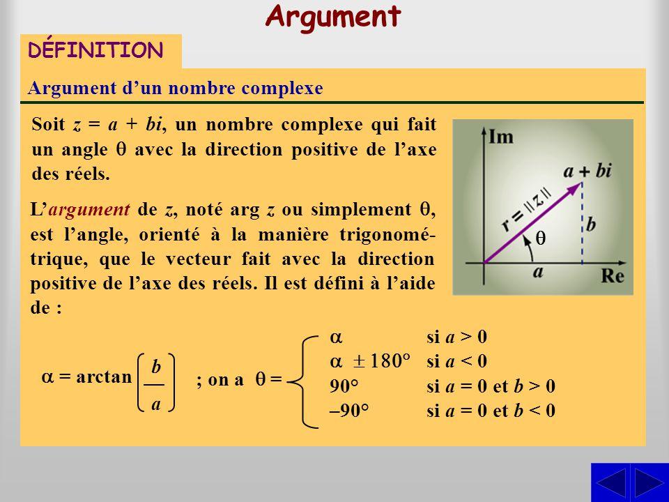 DÉFINITION Argument d'un nombre complexe Soit z = a + bi, un nombre complexe qui fait un angle  avec la direction positive de l'axe des réels.  = ar