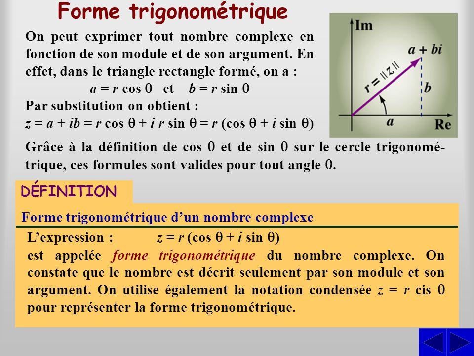 On peut exprimer tout nombre complexe en fonction de son module et de son argument. En effet, dans le triangle rectangle formé, on a : a = r cos  et