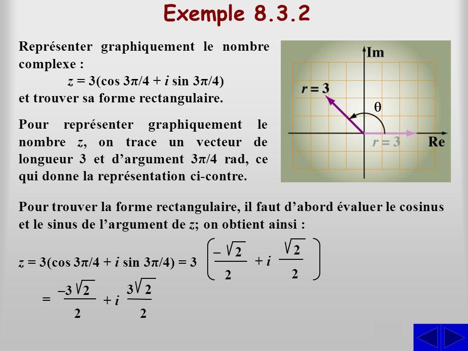 Exemple 8.3.2 S Représenter graphiquement le nombre complexe : z = 3(cos 3π/4 + i sin 3π/4) et trouver sa forme rectangulaire. Pour représenter graphi