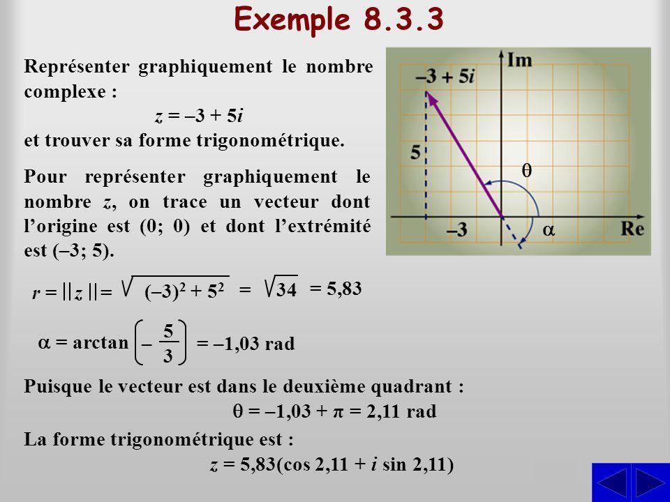 Exemple 8.3.3 S Représenter graphiquement le nombre complexe : z = –3 + 5i5i et trouver sa forme trigonométrique. S Pour représenter graphiquement le