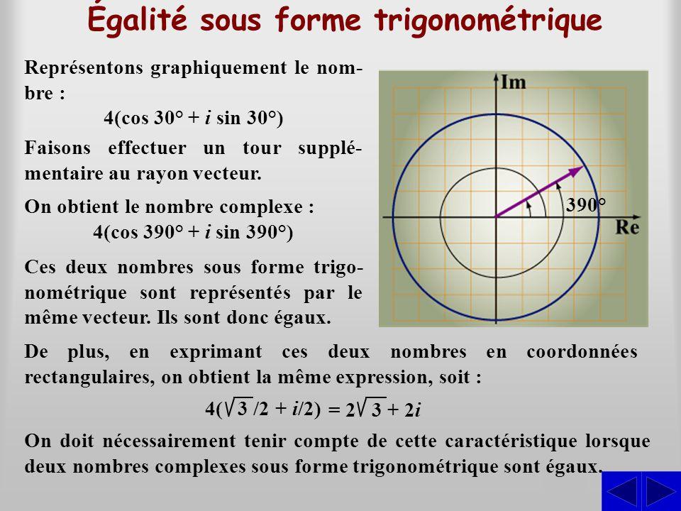 Égalité sous forme trigonométrique S Représentons graphiquement le nom- bre : 4(cos 30° + i sin 30°) On doit nécessairement tenir compte de cette cara