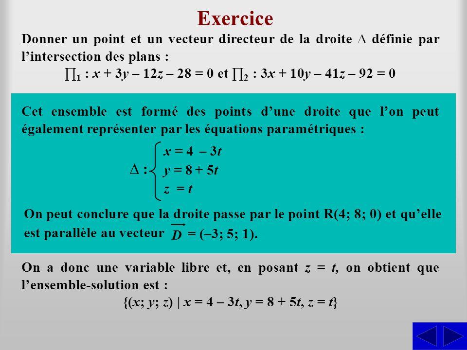 Exercice Donner un point et un vecteur directeur de la droite ∆ définie par l'intersection des plans : ∏ 1 : x + 3y – 12z – 28 = 0 et ∏ 2 : 3x + 10y –