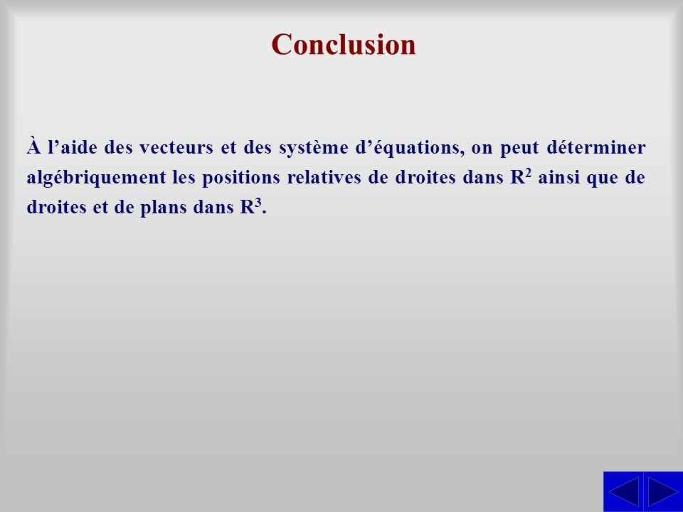 Conclusion À l'aide des vecteurs et des système d'équations, on peut déterminer algébriquement les positions relatives de droites dans R2 R2 ainsi que