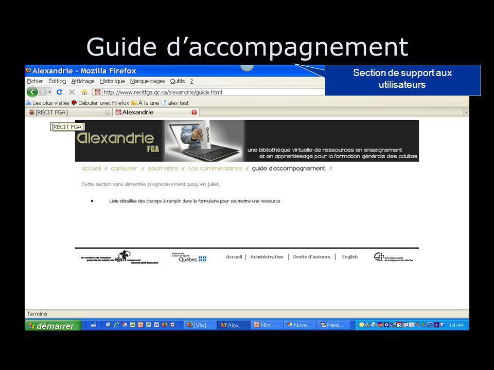 Guide d'accompagnement Section de support aux utilisateurs