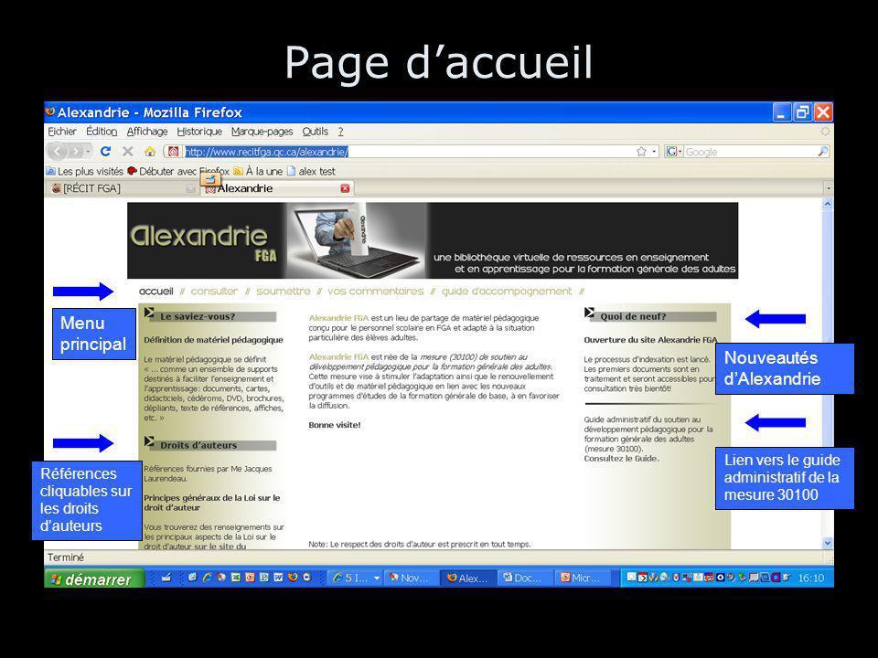 Page d'accueil Menu principal Références cliquables sur les droits d'auteurs Nouveautés d'Alexandrie Lien vers le guide administratif de la mesure 30100