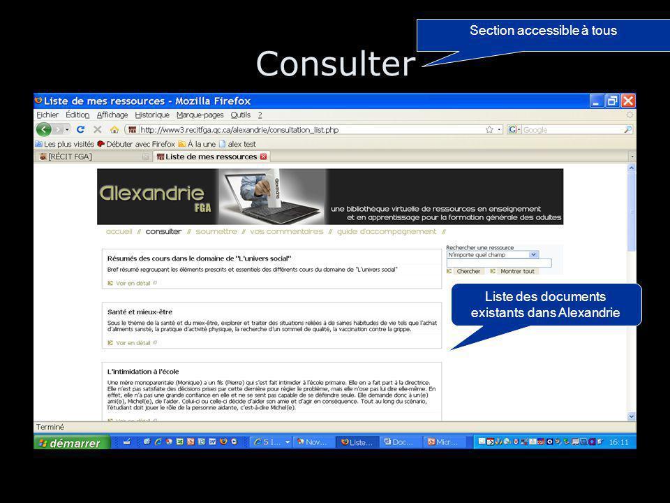 Consulter Section accessible à tous Liste des documents existants dans Alexandrie