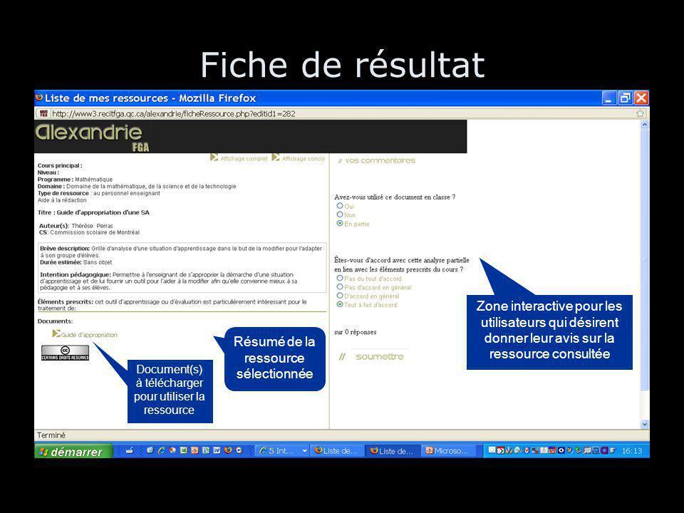 Fiche de résultat Résumé de la ressource sélectionnée Document(s) à télécharger pour utiliser la ressource Zone interactive pour les utilisateurs qui désirent donner leur avis sur la ressource consultée