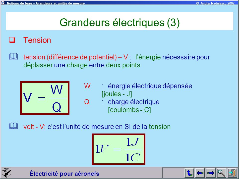 Électricité pour aéronefs © Andrei Radulescu 2002Notions de base – Grandeurs et unités de mesure Grandeurs électriques (3)  Tension  tension (différ