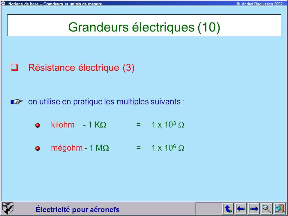Électricité pour aéronefs © Andrei Radulescu 2002Notions de base – Grandeurs et unités de mesure Grandeurs électriques (10)  Résistance électrique (3