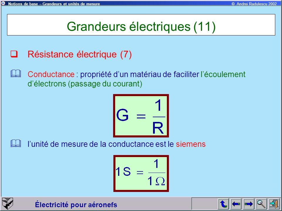 Électricité pour aéronefs © Andrei Radulescu 2002Notions de base – Grandeurs et unités de mesure Grandeurs électriques (11)  Résistance électrique (7