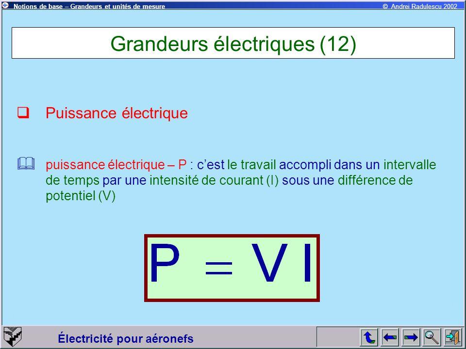 Électricité pour aéronefs © Andrei Radulescu 2002Notions de base – Grandeurs et unités de mesure Grandeurs électriques (12)  Puissance électrique  p