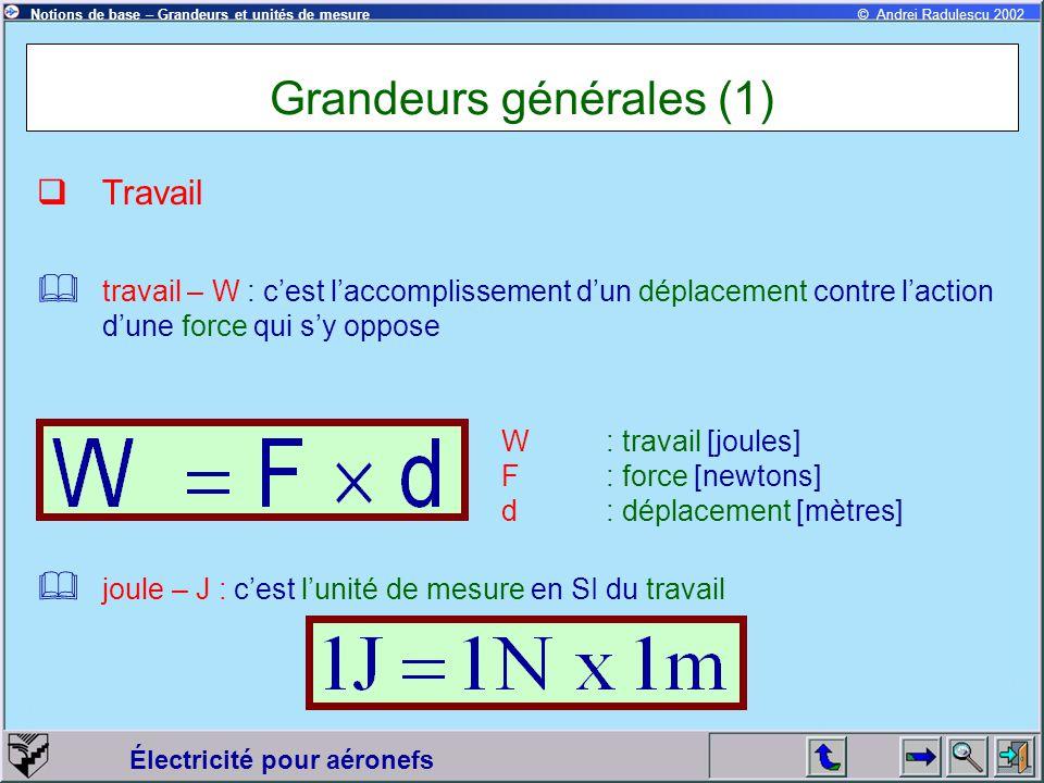 Électricité pour aéronefs © Andrei Radulescu 2002Notions de base – Grandeurs et unités de mesure Grandeurs générales (1)  Travail  travail – W : c'e