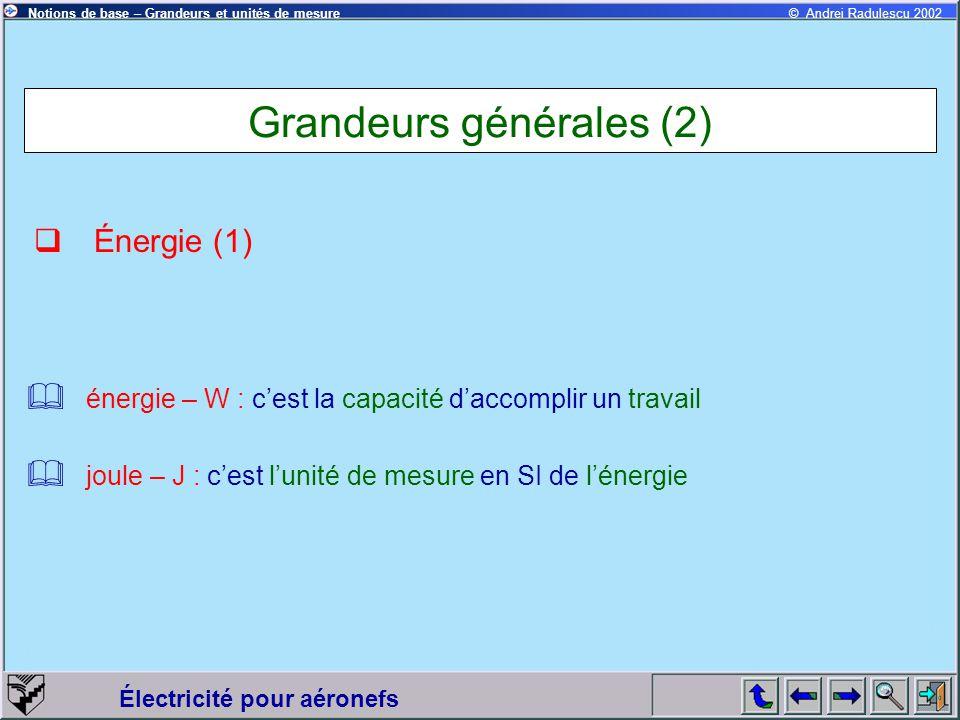 Électricité pour aéronefs © Andrei Radulescu 2002Notions de base – Grandeurs et unités de mesure Grandeurs générales (2)  Énergie (1)  énergie – W :