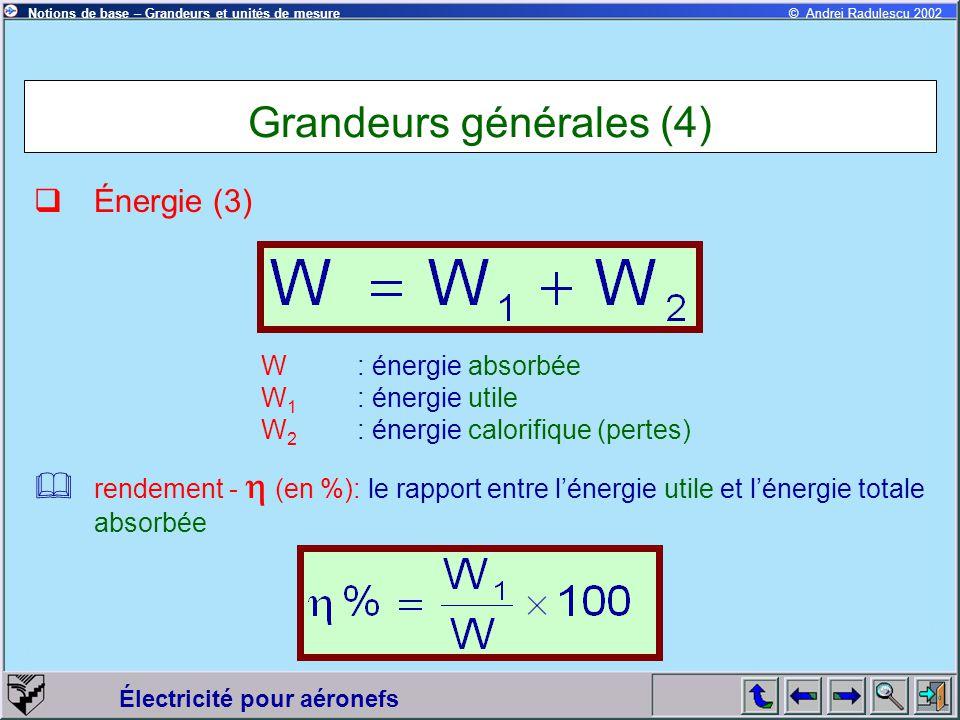 Électricité pour aéronefs © Andrei Radulescu 2002Notions de base – Grandeurs et unités de mesure Grandeurs générales (4)  Énergie (3) W: énergie abso