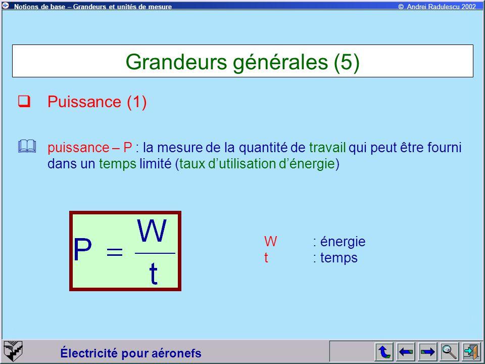 Électricité pour aéronefs © Andrei Radulescu 2002Notions de base – Grandeurs et unités de mesure Grandeurs générales (5)  Puissance (1) W: énergie t: