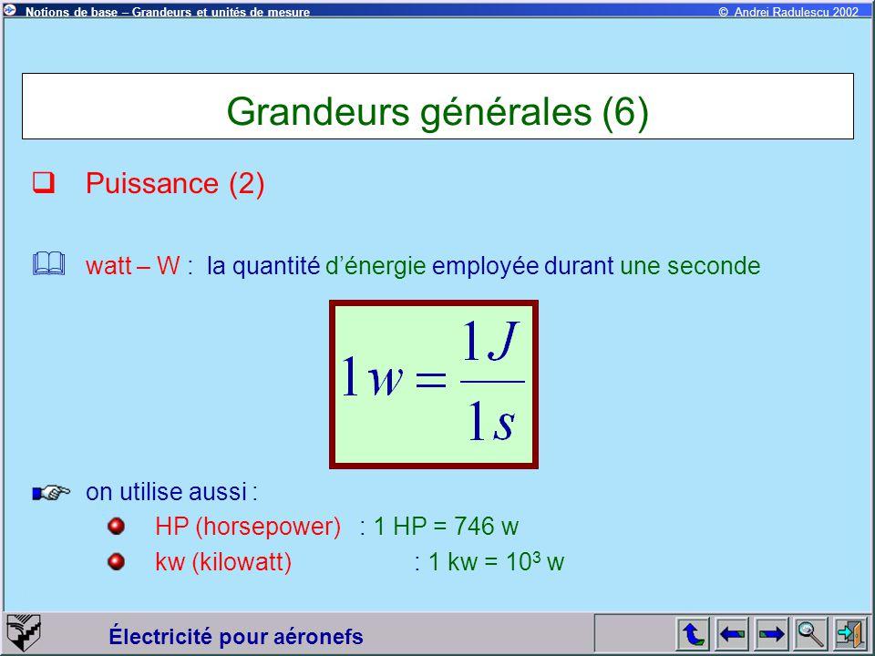 Électricité pour aéronefs © Andrei Radulescu 2002Notions de base – Grandeurs et unités de mesure Grandeurs générales (6)  Puissance (2)  watt – W :