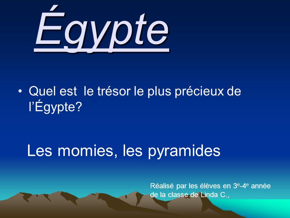 Quel est le trésor le plus précieux de l'Égypte?Égypte Les momies, les pyramides Réalisé par les élèves en 3 e -4 e année de la classe de Linda C.,