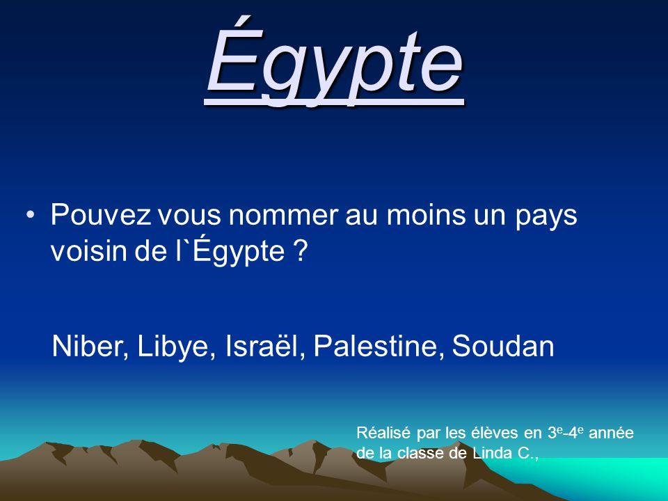 Égypte Pouvez vous nommer au moins un pays voisin de l`Égypte .