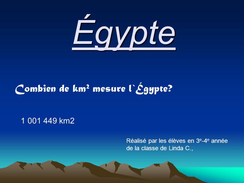 Égypte Combien de km 2 mesure l`Égypte.