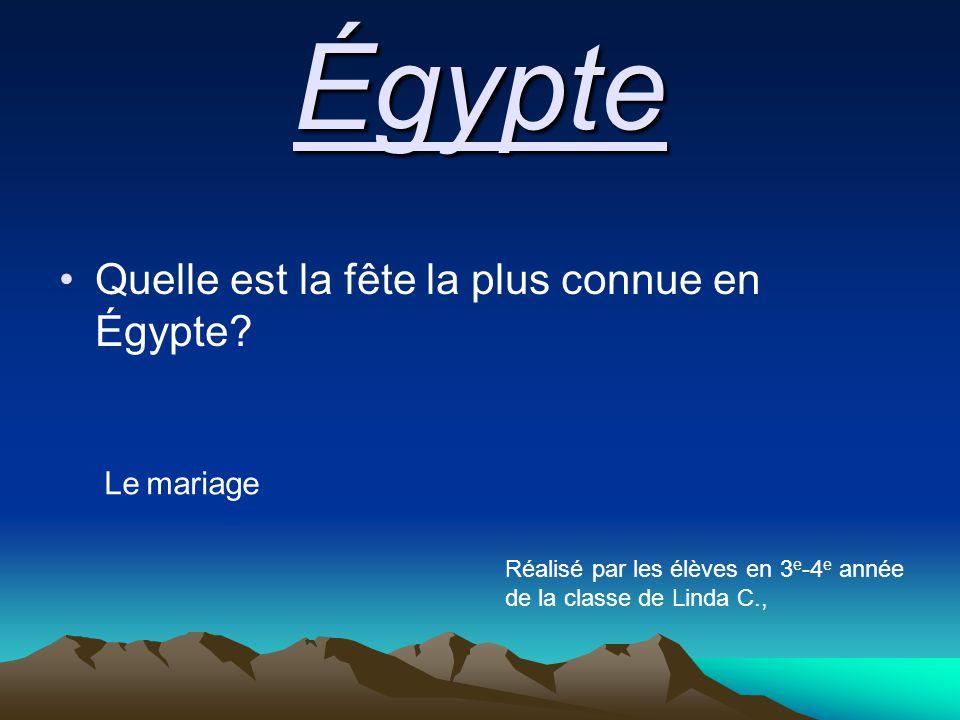 Égypte Quelle est la fête la plus connue en Égypte.