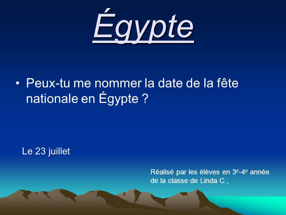 Égypte Peux-tu me nommer la date de la fête nationale en Égypte .