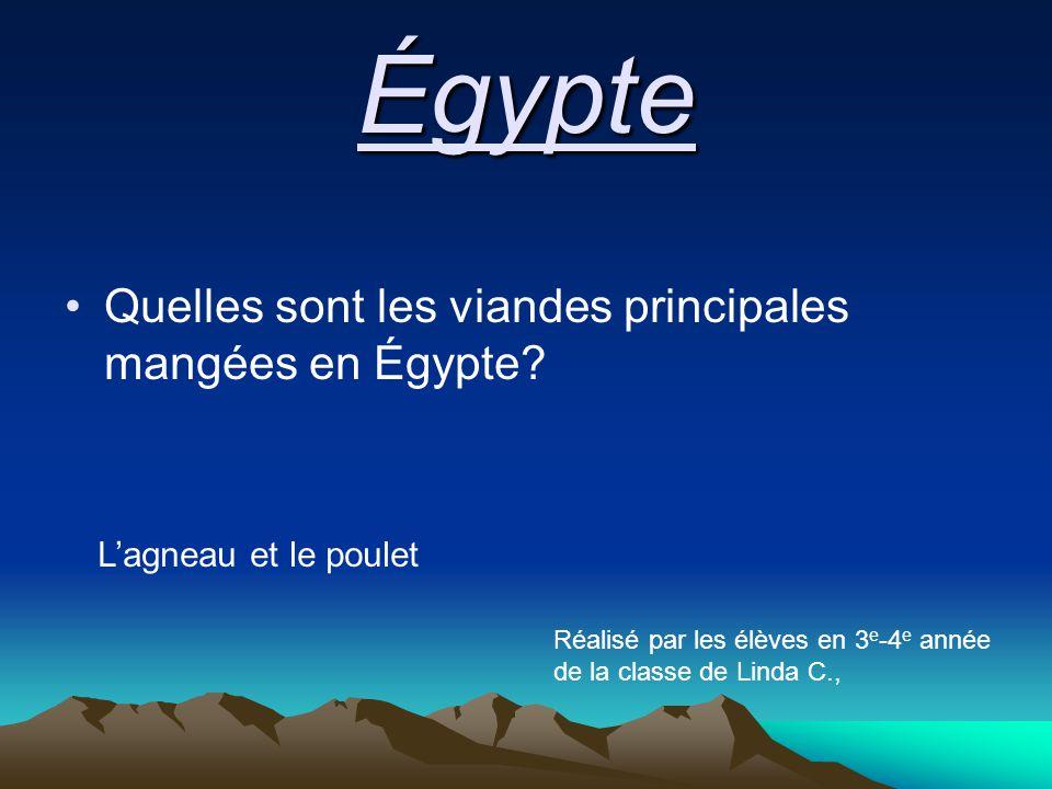 Quelles sont les viandes principales mangées en Égypte.