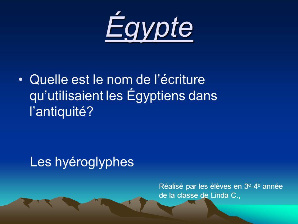 Quelle est le nom de l'écriture qu'utilisaient les Égyptiens dans l'antiquité.