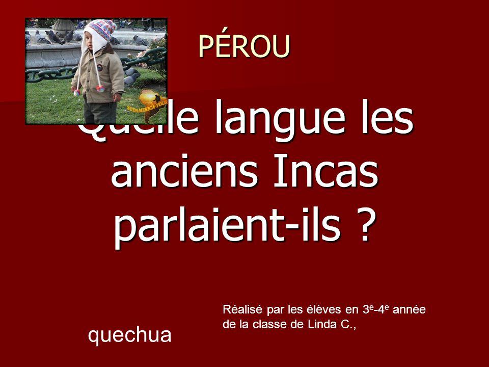 Quelle langue les anciens Incas parlaient-ils .
