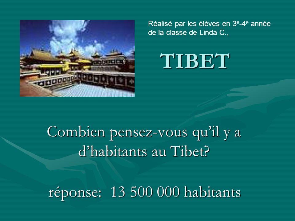 TIBET Combien pensez-vous qu'il y a d'habitants au Tibet.