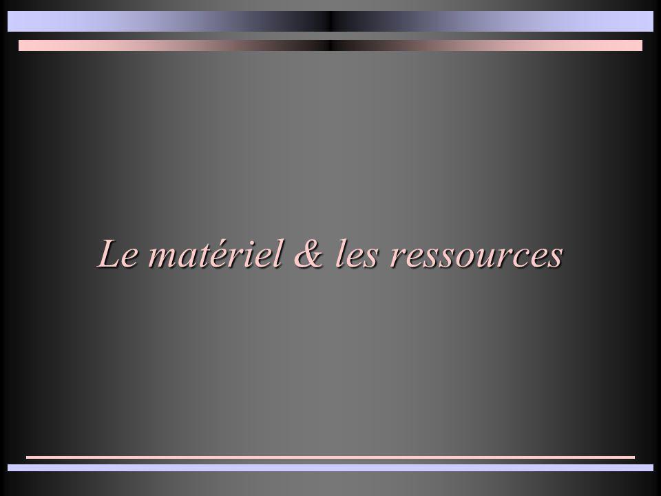 Le matériel & les ressources