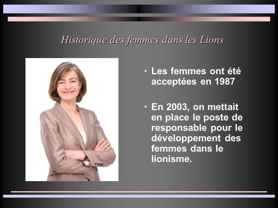 Historique des femmes dans les Lions Les femmes ont été acceptées en 1987 En 2003, on mettait en place le poste de responsable pour le développement des femmes dans le lionisme.
