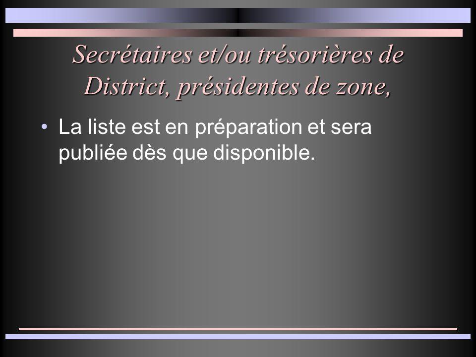 Secrétaires et/ou trésorières de District, présidentes de zone, La liste est en préparation et sera publiée dès que disponible.