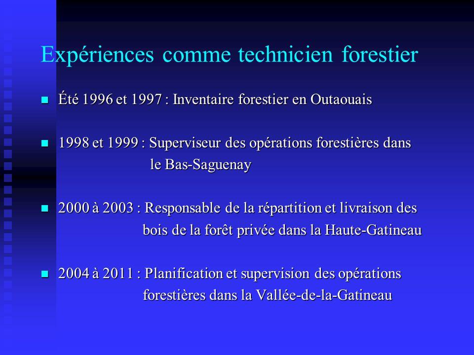 Expériences comme technicien forestier Été 1996 et 1997 : Inventaire forestier en Outaouais Été 1996 et 1997 : Inventaire forestier en Outaouais 1998