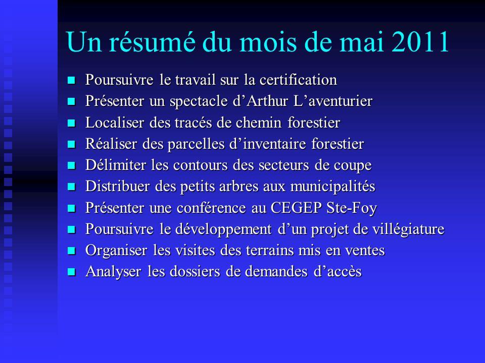 Un résumé du mois de mai 2011 Poursuivre le travail sur la certification Poursuivre le travail sur la certification Présenter un spectacle d'Arthur L'