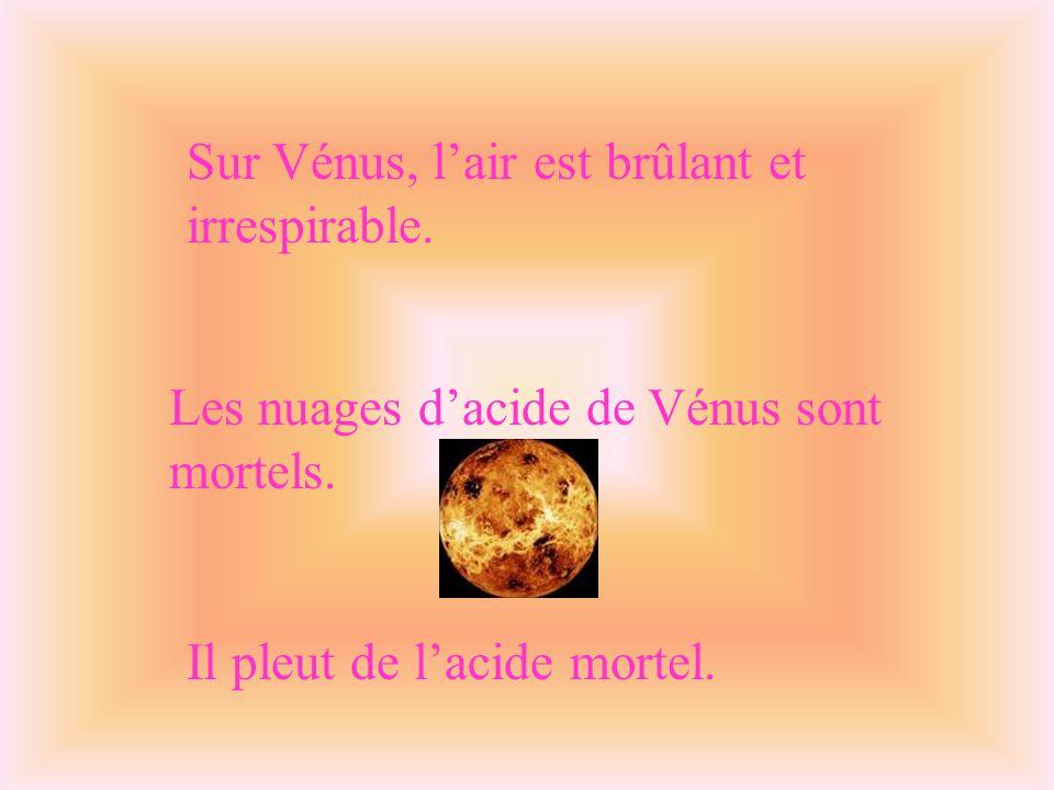 Sur Vénus, l'air est brûlant et irrespirable.Les nuages d'acide de Vénus sont mortels.