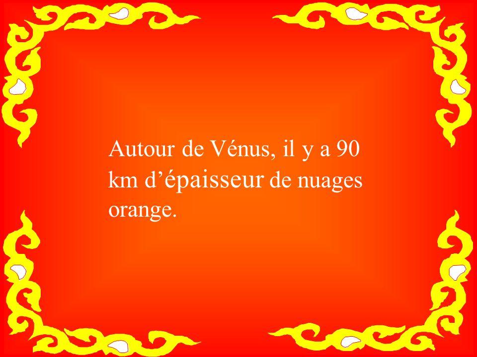 Autour de Vénus, il y a 90 km d' épaisseur de nuages orange.