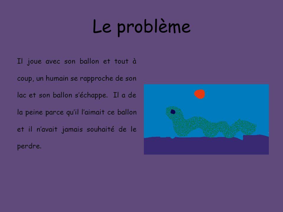 Le problème Il joue avec son ballon et tout à coup, un humain se rapproche de son lac et son ballon s'échappe. Il a de la peine parce qu'il l'aimait c