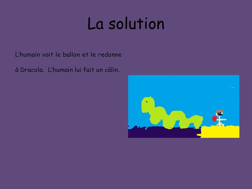 La solution L'humain voit le ballon et le redonne à Dracola. L'humain lui fait un câlin.