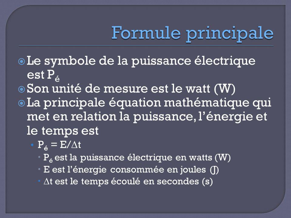  Le symbole de la puissance électrique est P é  Son unité de mesure est le watt (W)  La principale équation mathématique qui met en relation la puissance, l'énergie et le temps est P é = E/∆t  P é est la puissance électrique en watts (W)  E est l'énergie consommée en joules (J)  ∆t est le temps écoulé en secondes (s)