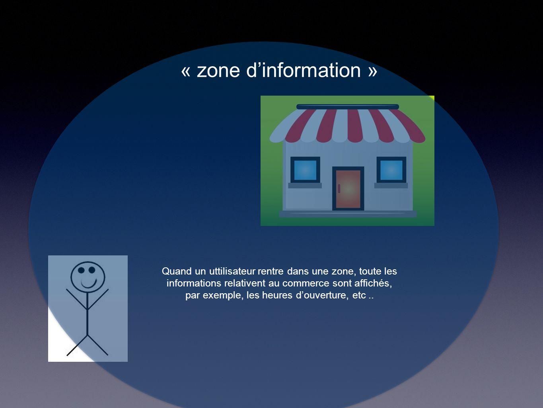 « zone d'information » Quand un uttilisateur rentre dans une zone, toute les informations relativent au commerce sont affichés, par exemple, les heures d'ouverture, etc..